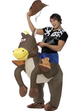 Disfraz de Caballo con Vaquero a Hombros Hinchable para adultos