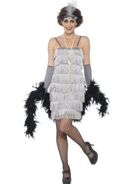 Disfraz de Cabaretera Plateado Corto de los años 20 para mujer