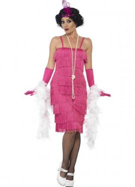 Disfraz de Cabaretera Rosa Largo de los años 20 para mujer