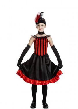 Disfraz de Can Can rojo y negro para niña