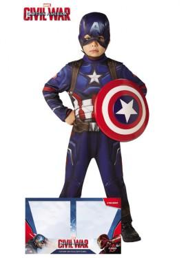 Disfraz de Capitán America Classic con Escudo en caja para niño