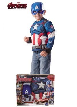 Disfraz de Capitán América musculoso en caja para niño