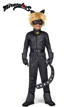 Costume da gatto nero di coccinella miracolosa con parrucca per ragazzo