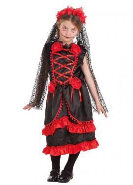 Disfraz de Catrina con Flores para niña