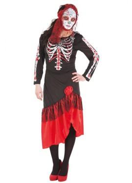Déguisement de La Mort Mexicaine ou Squelette Catrina pour femme.