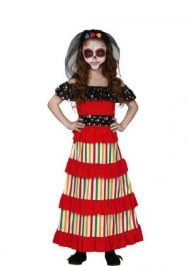Disfraz de Catrina Roja del Día de Los Muertos para niña