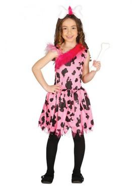 Disfraz de Cavernícola rosa para niña