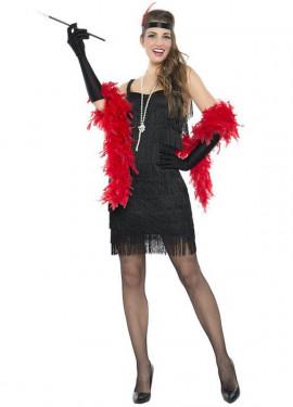 Disfraz de Charlestón con Flecos Negro para mujer