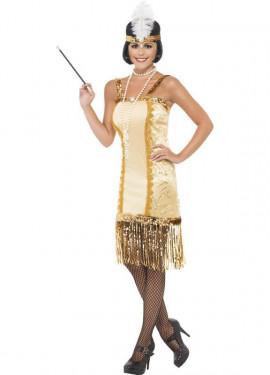 Disfraz de Charlestón Flapper Dorado para mujer