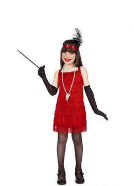 Disfraz de Charleston Flecos Rojo para niña