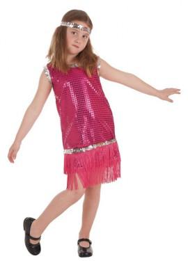 Disfraz de Charlestón Rosa con Flecos para niña