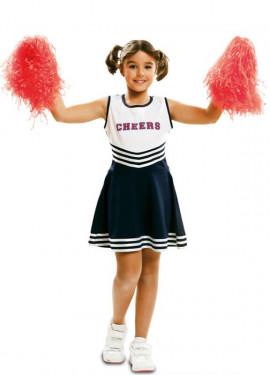 Disfraz de Cheerleader blanco y azul para niñas