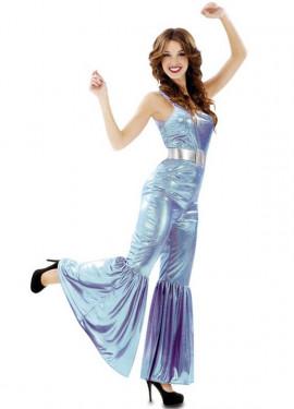 Disfraz de Chica de la Disco azul metalizado para mujer