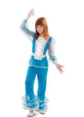 Disfraz de Chica Disco azul para niña