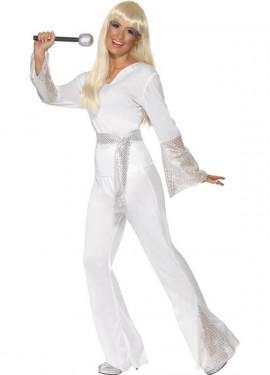 Disfraz de Chica Disco de los 70 Blanco para Mujer