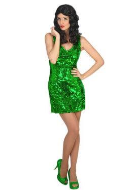 Disfraz de Chica Disco vestido verde para mujer