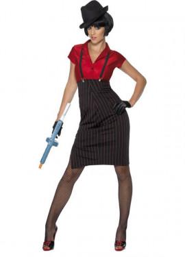 Disfraz de Chica Gánster Rojo y Negro para Mujer
