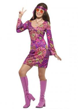 Disfraz de Chica Hippy morado para mujer