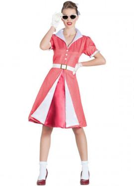 Déguisement de Mademoisselle Pin Up Rouge pour femme
