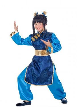 Costume da Cinese blu per bambina