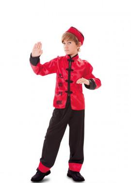 Disfraz de Chino rojo y negro para niño
