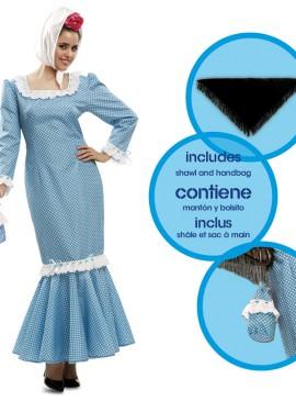 Disfraz de chulapa o madrileña azul para mujer