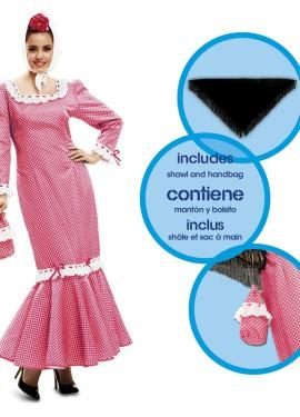 Disfraz de chulapa o madrileña rosa para mujer