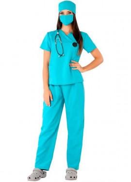 Costume da chirurgo verde per donna