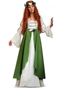 Disfraz de Clarisa Medieval verde para mujer