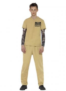 Disfraz de Convicto beige para hombre
