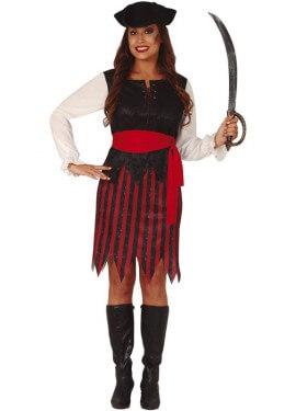 Disfraz de Corsaria a rayas para mujer