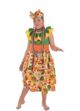 Disfraz de Cubana con Frutas para niña