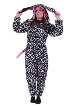 Disfraz de Dálmata Negro con capucha Flúor Fucsia para adultos