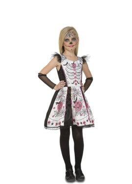 Disfraz de Damisela Esqueleto Blanca para niña