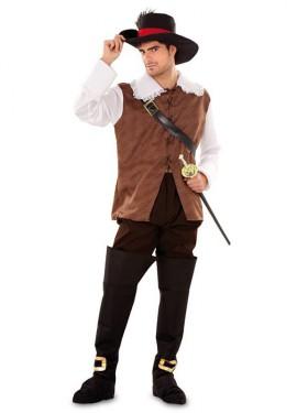Déguisement D'Artagnan marron pour home taille M-L