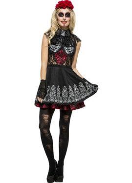 Disfraz de Día de los Muertos Encaje Negro para mujer
