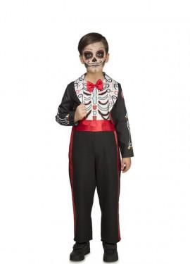 Disfraz de Día De Los Muertos Negro para niño