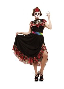 Disfraz de Día de los Muertos para mujer talla M-L de Halloween