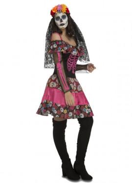 Disfraz de Día De Los Muertos rosa para mujer