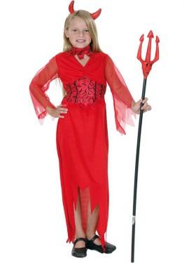 Disfraz de Diablesa Roja manga de Tul para niña