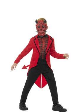 Disfraz de Diablo del Día de los Muertos Rojo para niño