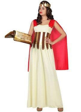 Disfraz de Diosa Griega con capa roja para mujer
