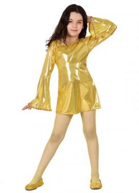Disfraz de Disco dorado brillante para niña