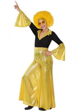Disfraz de Disco Girl dorado para niña