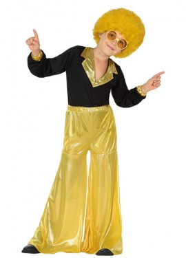Disfraz de Disco Man dorado para niño