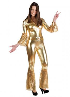 Disfraz de Diva de la Disco oro para mujer