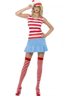Disfraz de Dónde está Wally: Wenda Sexy para Mujer