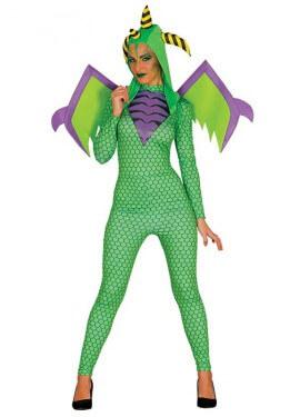 Déguisement de Dragon Vert avec ailes pour femme