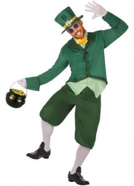 Patrizio VERDE TOP HAT CON CAPELLI RICCI Irlandese Costume Accessorio S