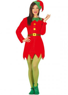 Disfraz de Elfa verde y rojo para mujer